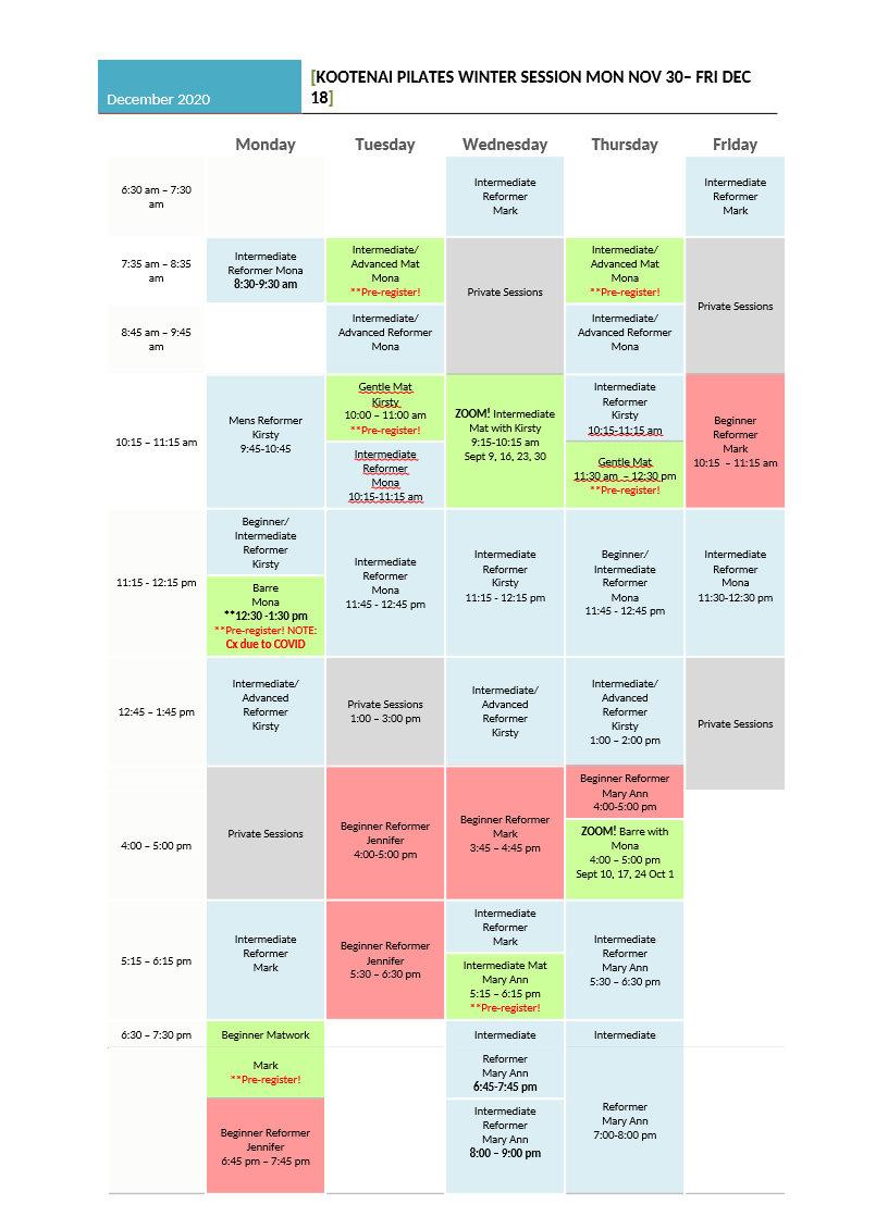 Kootenai Pilates - December Schedule