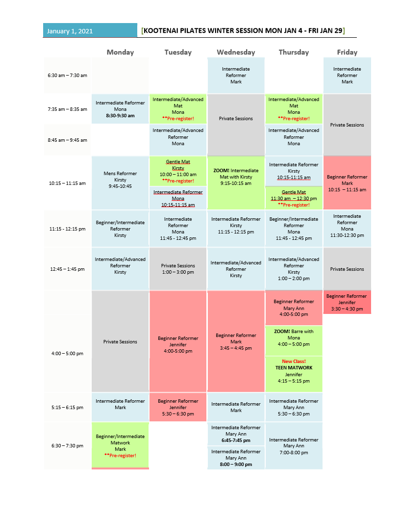 Kootenai Pilates January 2021 Schedule